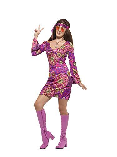 Smiffys 45519M - Damen Woodstock Hippie Kostüm, Kleid, Kopftuch und Medaillon, Größe: 40-42, mehrfarbig
