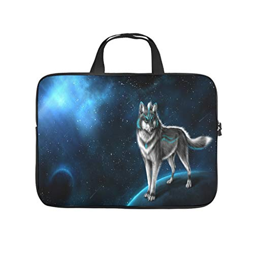 Trippy Space Moon Wolf Animal Laptop Bag Waterproof Laptop Protective Bag Stylish Notebook Bag for University Work Business