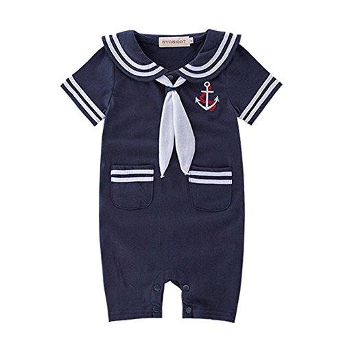 LOLANTA DREAMOWL Junge Kleinkind Matrosenanzug Streifen Strampler Navy Baby Body Outfit 6-12 monate marine
