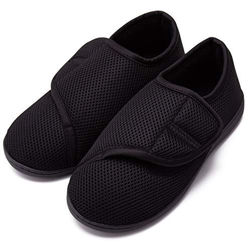BHNACM Diabetiker Orthopädische Herren Hausschuhe,Wide Fitting Herren Hausschuhe Schuhe Sneaker Schuhe für geschwollene füße Bequeme Hallux valgus Filzpantoffeln C-L(42-43)