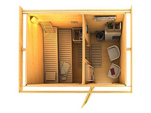 SAUNELLA Sauna Haus mit Ofen | Bausatz Gartensauna - Saunakabine Maße: 330 x 231 x 226 cm | Saunaofen Komplett Sauna Zubehör | Saunaofen mit int. Steuerung 9 kW