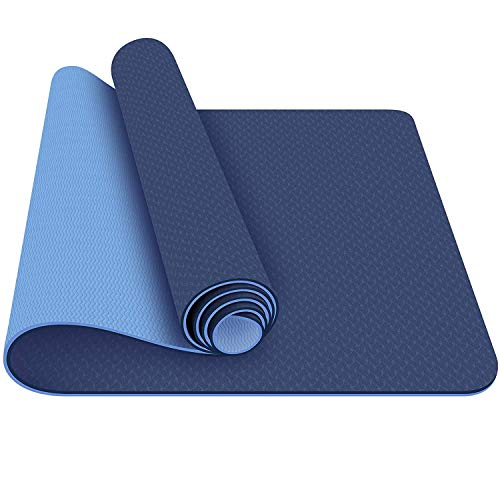 Strauss TPE Eco Friendly Dual Layer Yoga Mat, 6mm (Blue) Workout Mat for Yoga Pilates Outdoor Workout with Free Carrying Bag and Strap
