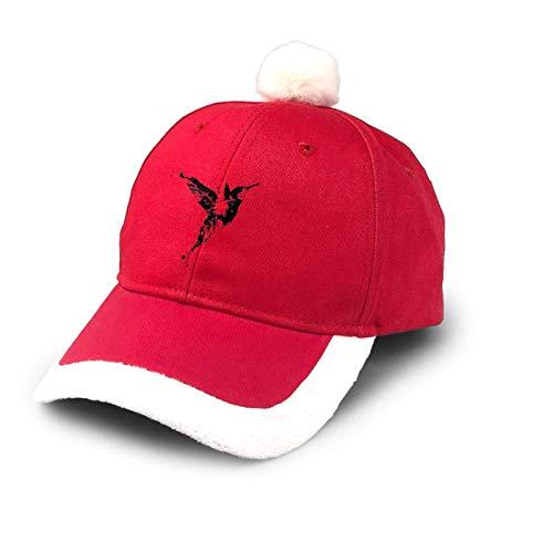 Sombrero de camionero de tinta para colibr de Navidad, gorro de algodn, gorra de Pap de bisbol, disfraz de Pap Noel, rojo