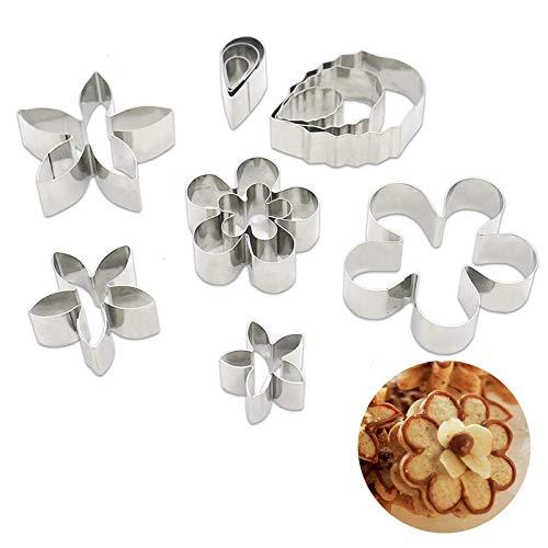 un brand Lvjkes Coupe-Biscuits en Acier Inoxydable, 12 Pièces Biscuits Emporte Pièces, Coupe-Fleurs Mignon pour Cuisine Cuisson Dessert Pâtisserie Fondant Bricolage et Moulage Décoration de Gâteau