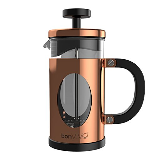 bonVIVO GAZETARO I Caffettiera French Press (Caffettiera Pressofiltro) Di Design In Acciaio Inox e Vetro. Caffettiera Francese (French Press) Con Rifinitura Rame e Filtri. Capacità: 0,35l/350ml