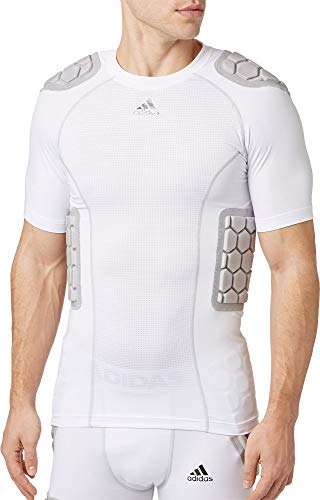 adidas Adult Techfit Padded Football Shirt (White, Large)