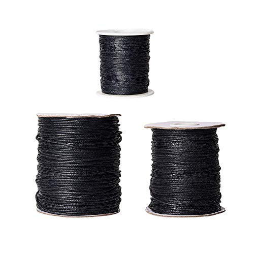PandaHall - 3 Rollos de Cuerda de algodón Encerada de 1 mm / 1,5 mm / 2 mm, para Pulsera, Collar, fabricación de Joyas y Accesorios de macramé, Negro, 100 Yard/Roll