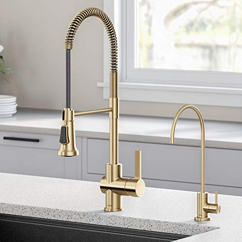 Kraus KPF-1690-FF-100BG Britt Commercial Style Kitchen Purita Water Filter Faucet Combo, Brushed Gold
