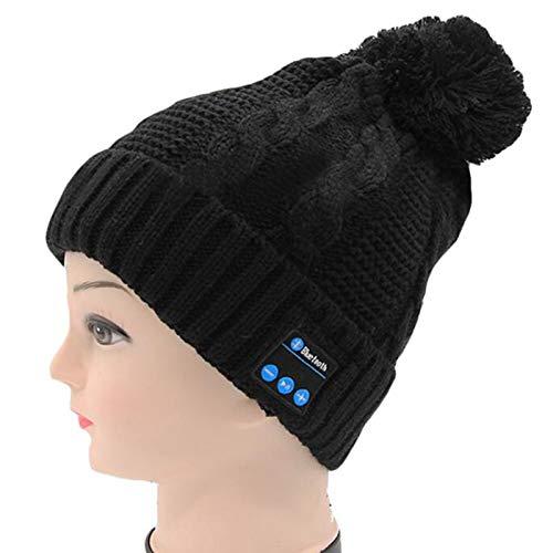 Bluetooth-Mütze, verbessertes Bluetooth 5.0 kabelloses Headset für Herren und Damen, gestrickte Musikmütze mit Stereo-Lautsprechern, Mikrofon, für Outdoor-Sport, schwarz