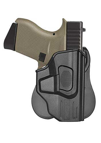 Glock 43 Holster, OWB Paddle Holster Fit Glock 43, Outside Waistband Belt Open Carry Holster, 360° Adjustable Tactical Gun Holster, G43 Polymer Pistol Holster, Quick Release Button - Right Handed