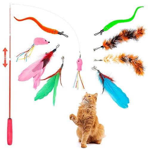LOVEXIU Juguetes para Gatos 10 Piezas CañA Gato Juguete Gato Juguetes Gatos Juguete Pluma de Gato Interactivo para Ejercitar Gatos y Gatitos