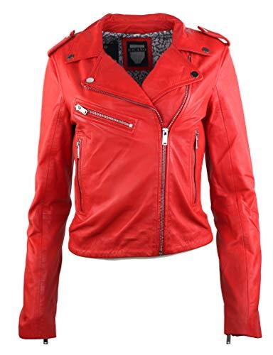 RICANO 7620 - Damen Lederjacke (Slim Fit) im Perfecto Stil aus echtem Lamm Nappa Leder (Schwarz, Rot, Cognac Braun) (Rot, XL (42))