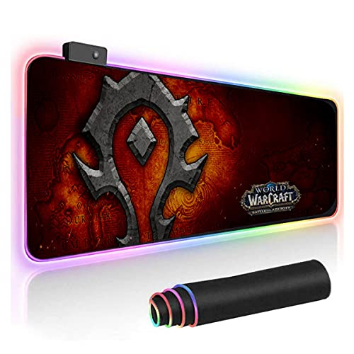 Horde World of Warcraft RGB Soft Gaming Mouse Pad Large Oversized Glowing Led Extended Mousepad Non-Slip Rubber Base Computer Keyboard Pad Mat 31.5X 11.8in