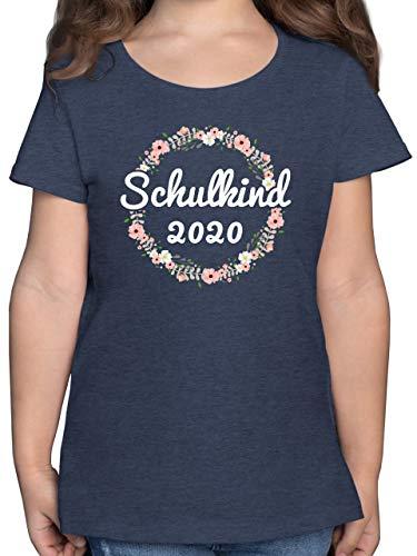 Einschulung und Schulanfang - Schulkind 2020 Blumenkranz - 140 (9/11 Jahre) - Dunkelblau Meliert - Einschulung Tshirt mädchen - F131K - Mädchen Kinder T-Shirt