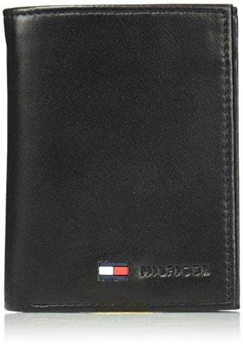 Tommy Hilfiger Organizer in agnello lucido per carte di credito, da uomo, Nero (Nero ), Taglia unica