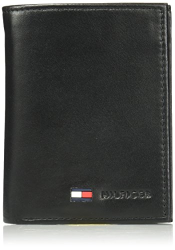 Tommy Hilfiger Men's Trifold Wallet-Sleek and Slim Includes ID Window and Credit Card Holder, Black, One Size
