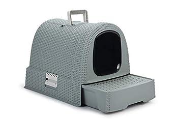 CURVER | Maison de toilette pour chat, Bleu Gris, Pet rattan, 51,5x38,5x40 cm