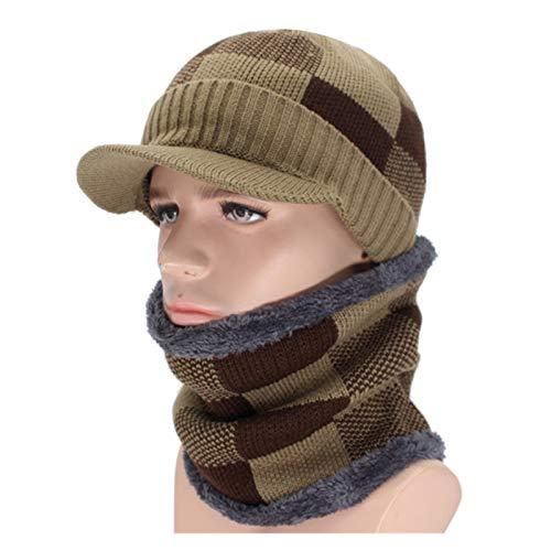 Sombreros de Punto Skullcap Winter Retro Sombreros de Invierno cálido Bufanda Cap Punto Beanie Sombrero del Capo Skullies Gorros Masculino Esquí Deportes al Aire Libre Grueso con Orejeras