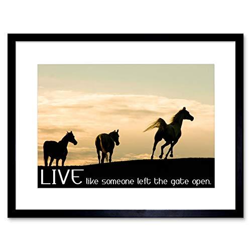 Wee blauwe Coo paarden leven als iemand links de poort open citaat typografie kunst ingelijst muur kunst afdrukken