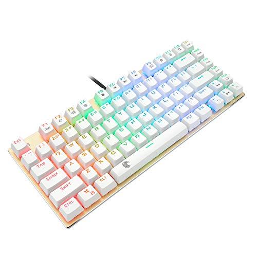 Z-88 Kleine Mechanische Tastatur, DIY Blue Switch mit RGB LED-Beleuchtung, Kompakte 81 Tasten US-Layout Keyboard , Roségold und Weiß (QWERTY)