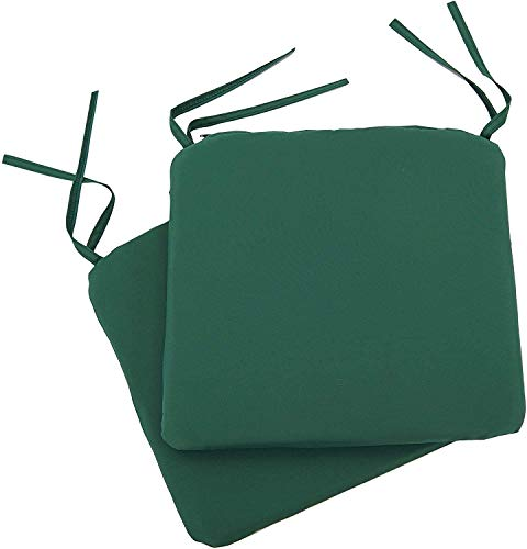 Set Of 4 Beautiful REMOVABLE Dining Garden Chair Cushion Seat Pads With Ties (Moss Green)