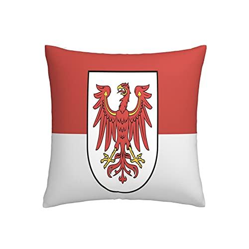 Flagge Brandenburg Kissenbezug, quadratisch, dekorativer Kissenbezug für Sofa, Couch, Zuhause, Schlafzimmer, Indoor Outdoor, niedlicher Kissenbezug 45,7 x 45,7 cm