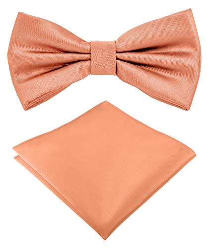 Helido Fliege für Herren mit Einstecktuch, 12 verschiedenfarbige Accessoires-Sets passend zu Hemd und Anzug oder Smoking + Geschenkbox (Apricot)