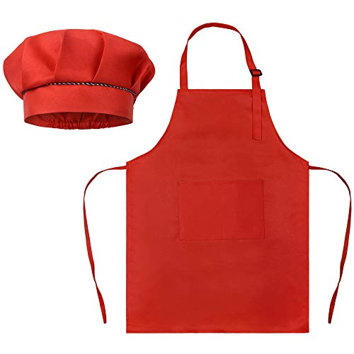 SUNLAND Kids Apron and Hat Set Children Chef Apron for Cooking Baking Painting (Red, S)