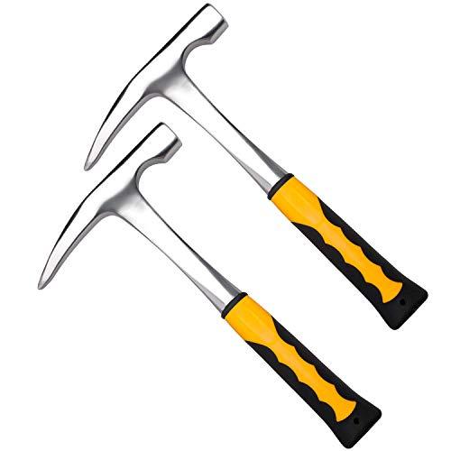 2 martillo de mampostería de 32 oz, cromados, de acero inoxidable, con punta puntiaguda y mango de reducción de golpes para la explotación minera