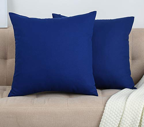 """TangDepot Set of 2 Handmade Decorative Solid 100% Cotton Canvas Throw Pillow Covers/Cushion Covers, 45 Colors Available - (18""""x18"""" 2 Pieces, Royal Blue)"""
