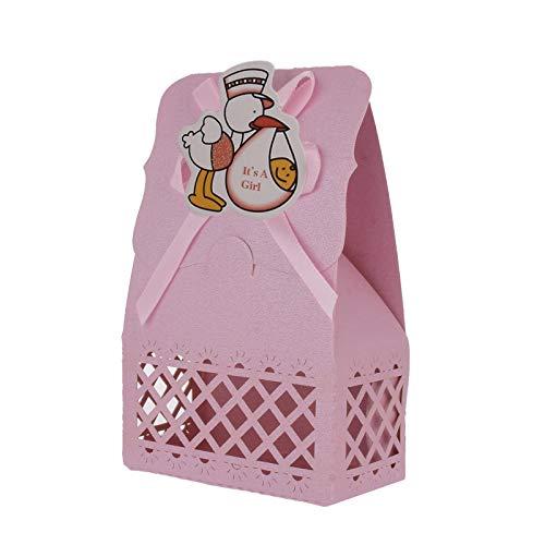 FLOWOW 24 Rosa Anatra Scatola portaconfetti scatolina portariso bomboniera segnaposto per Compleanno Battesimo Comunione Bimbo Bambino Nascita Natale