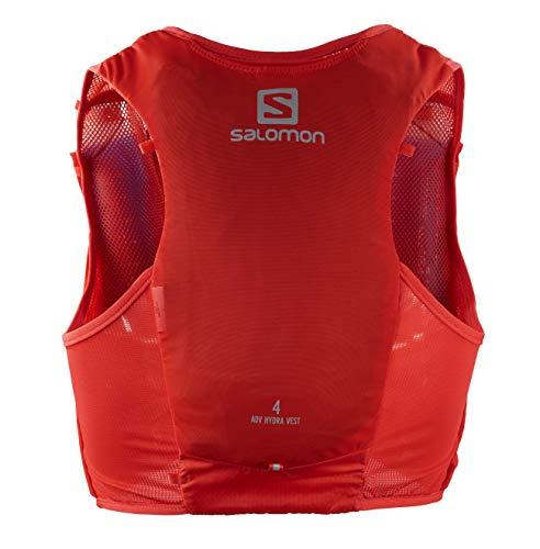 SALOMON ADV Hydra Vest 4 Chaleco de hidratación 4L, 2 Botellas SoftFlask 500 ml Incluidas, Unisex-Adult, Rojo, L