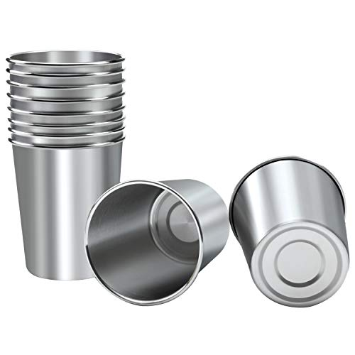 Resinta 10 Pieces 8 Ounce Stainless Steel Cups Metal Pint Cups Shatterproof Drinking Glasses for...