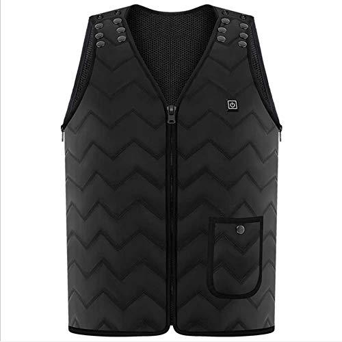 Eleamo elektrisch vest met warmtegeleiding, 5 V, met USB-oplaad-invoer, vest voor mannen in de winter met 3 bestanden, temperatuur verstelbaar voor wandelen