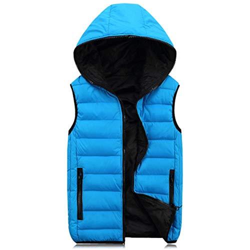 Delicacydex Delicacydex Frühling Herbst Sleeveless Jacke für Männer Frauen Mode Warme Kapuze Winter Weste Plus Größe Mens Arbeitswesten Mäntel Blau S