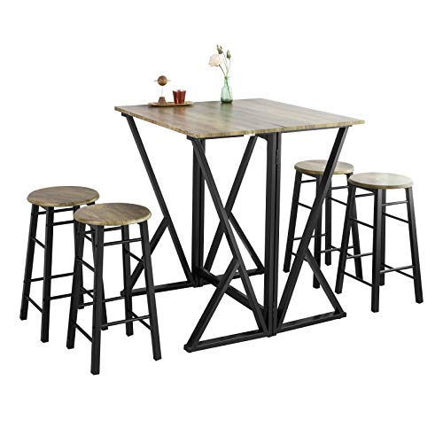 SoBuy® OGT24-N Set de 1 Table + 4 Chaises Ensemble Table de Bar bistrot + 4 tabourets Table Mange-Debout Table Haute Cuisine Table à Manger Table de Balcon avec Repose-Pieds Table Pliante