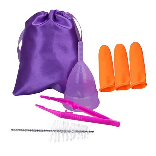 Copa Menstrual de Silicona Talla L (20ML) -Totalmente reutilizable- Con Bolsa de Tela para su transporte - Cepillo limpiador incluido- 3 Dedales Para Extracción más Limpia -Pinzas Para Mejor Manejo