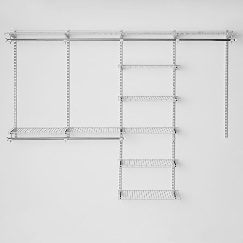 Rubbermaid Configurations Custom Closet Deluxe Kit, White, 4 to 8 Foot, FG3H8900WHT