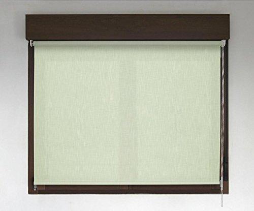 Estor enrollable PREMIUM (desde 40 hasta 300cm de ancho) translúcido efecto tela (permite paso de luz, no permite ver el exterior/interior. El color no es liso simula el efecto tela). Color verde claro. Medida 140cm x 240cm para ventanas y puertas