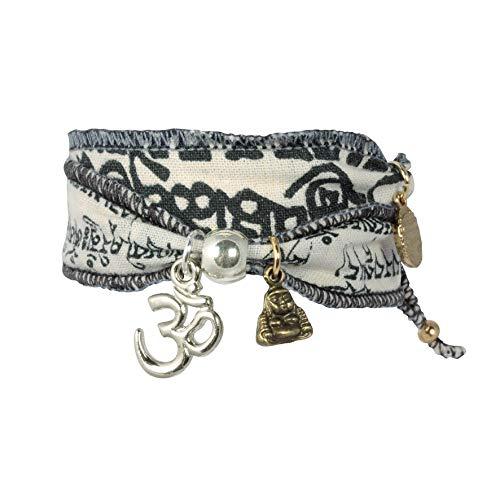 Anisch de la Cara Damen Armband Wind Om - Tibetan Wish Wunscharmband aus tibetischen Gebetsfahnen - tibetisches Glücksarmband Wickelarmband...