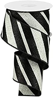 Wired Ribbon Glittered Black and White Giant Diagonal Lines 2.5