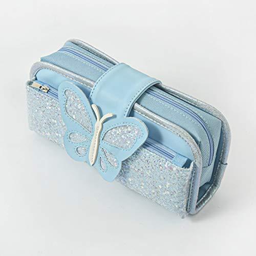 Bolsa de lápices de gran capacidad, con lentejuelas de mariposa, bolsa de almacenamiento multifuncional, ideal para oficina, escuela, niñas y adultos