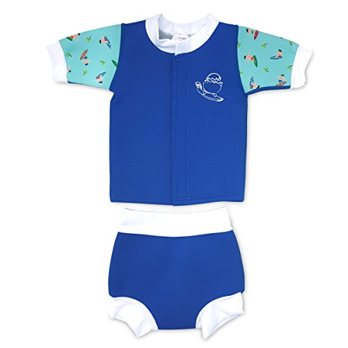 Cheekaaboo Huggiebabes Baby and Toddler Two Piece Thermal Swimsuit for Boys and Girls, 6-18 Months, Blue