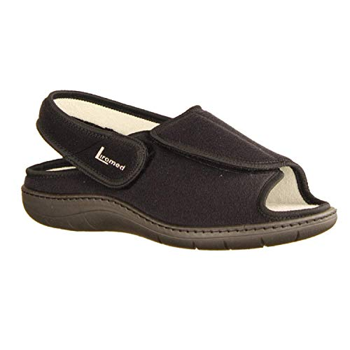 LIROMED Herren Hausschuhe 475-20Z1 Schwarz - sportliche Sandale - VERBANDSCHUHE, Schwarz schwarz 221160