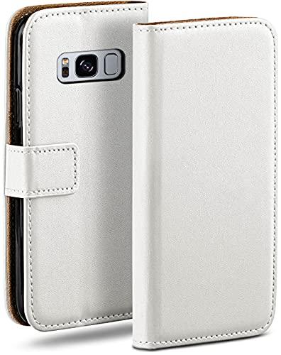 moex Klapphülle kompatibel mit Samsung Galaxy S8 Hülle klappbar, Handyhülle mit Kartenfach, 360 Grad Flip Hülle, Vegan Leder Handytasche, Weiß