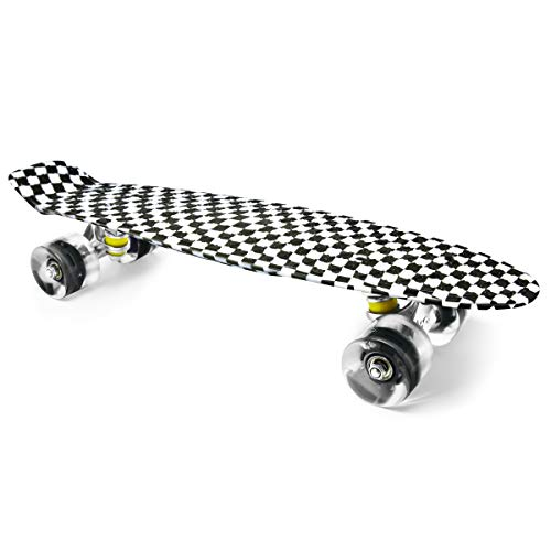 Merkapa 22' Complete Skateboard with Colorful LED Light Up Wheels for Beginners (Black and White)