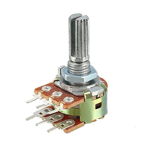 YSJJSQZ Interruptor Giratorio WH148 20K Ohm Resistores Variables Dual GURN GURARIO PELUMA DE Carbono DE Carbono POTENCIÓRICE 6 Pin (Color : 20K 1Pcs)