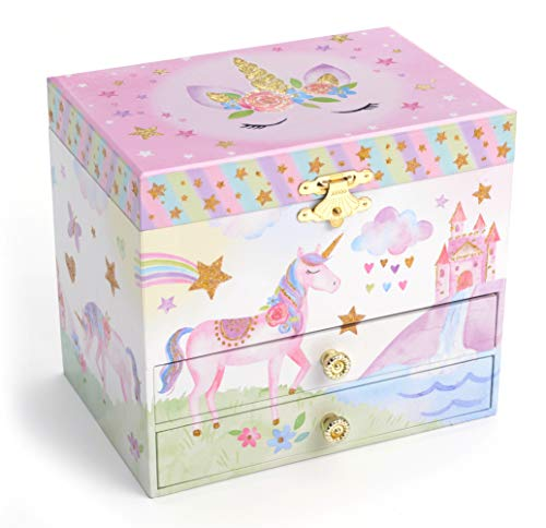 Jewelkeeper Musical Jewelry Box with 2 Pullout Drawers, Glitter Rainbow and Stars Unicorn Design, The Unicorn Tune 5