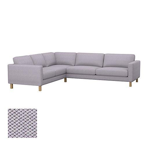 Soferia Bezug fur IKEA KARLSTAD 3+2/2+3 Ecksofa, Stoff Nordic Light Grey