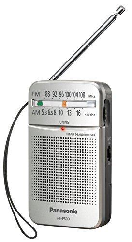 Panasonic RF-P50DEG-S Taschenradio mit Trageriemen, Batteriebetrieb Silber